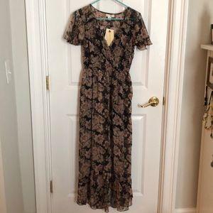Floral front slit maxi dress (M)